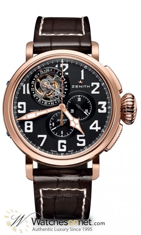 Zenith Pilot  Chronograph Automatic Men's Watch, 18K Rose Gold, Black Dial, 87.2430.4035/21.C721