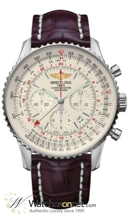 Breitling Navitimer GMT  Automatic Men's Watch, Stainless Steel, Silver Dial, AB044121.G783.750P