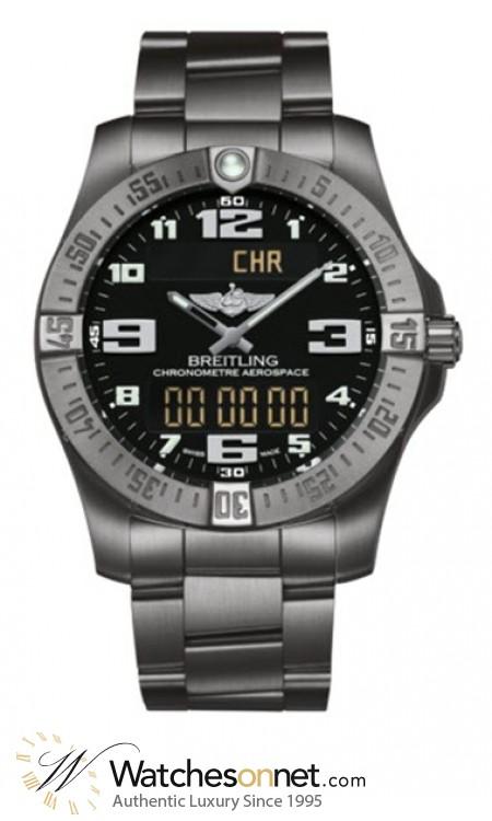 Breitling Aerospace Evo  Chronograph LCD Display Quartz Men's Watch, Titanium, Black Dial, E7936310.BC27.152E