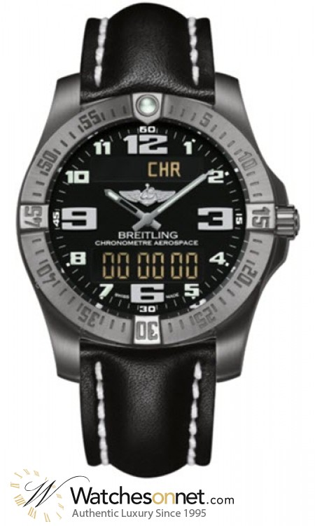 Breitling Aerospace Evo  Chronograph LCD Display Quartz Men's Watch, Titanium, Black Dial, E7936310.BC27.435X