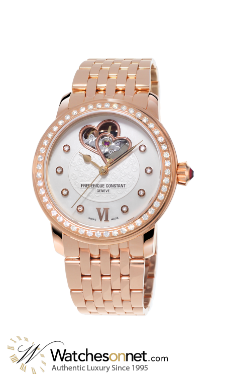 Frederique Constant World Heart Federation  Automatic Women's Watch, 18k Rose Gold Plated, Silver & Diamonds Dial, FC-310WHF2PD4B3