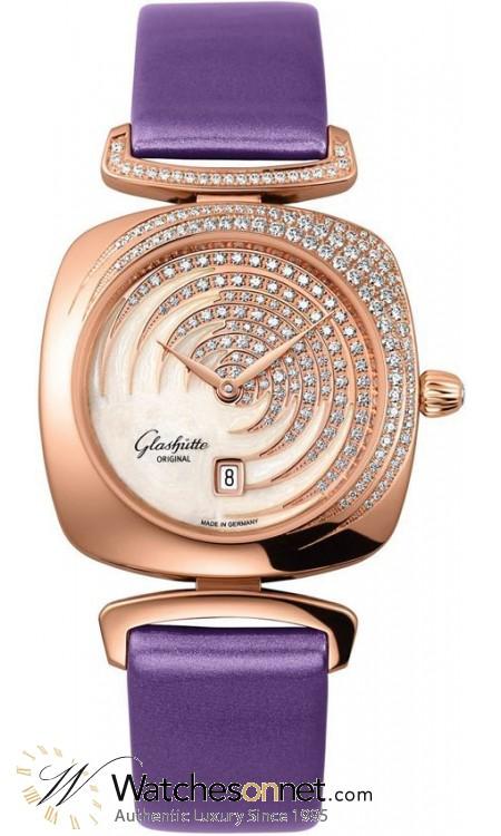 Glashutte Original Pavonina  Quartz Women's Watch, 18K Rose Gold, Mother Of Pearl & Diamonds Dial, 1-03-01-03-15-01