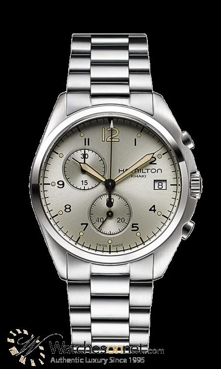 Hamilton Aviation  Chronograph Quartz Men's Watch, Stainless Steel, Silver Dial, H76512155