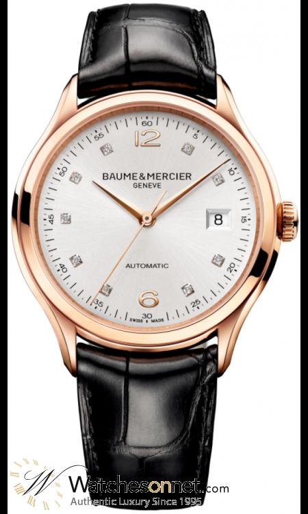 Baume & Mercier Clifton  Automatic Men's Watch, 18K Rose Gold, Silver & Diamonds Dial, MOA10104