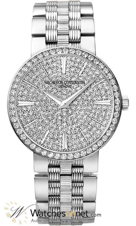 Vacheron Constantin Patrimony Traditionnelle  Quartz Women's Watch, 18K White Gold & Diamonds, Diamond Pave Dial, 25556/Q01G-9280