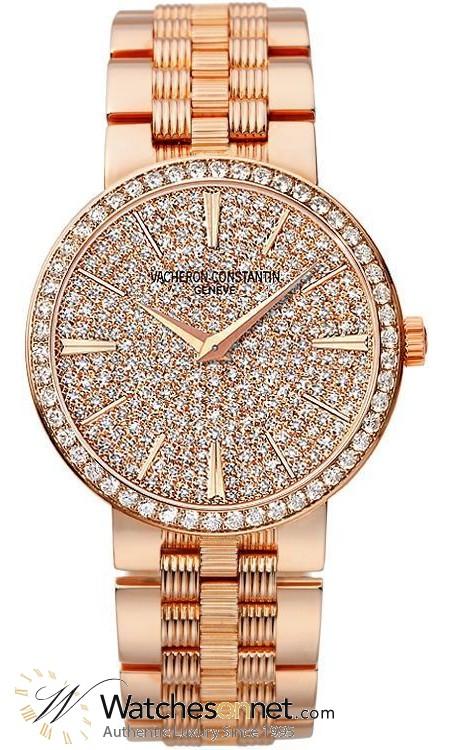 Vacheron Constantin Patrimony Traditionnelle  Quartz Women's Watch, 18K Rose Gold, Diamond Pave Dial, 25556/Q01R-9281