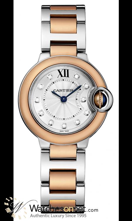 Cartier Ballon Bleu  Quartz Women's Watch, Steel & 18K Rose Gold, Silver Dial, W3BB0005