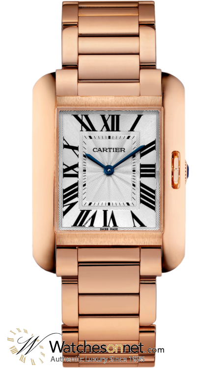 Cartier Tank Anglaise  Automatic Women's Watch, 18K Rose Gold, Silver Dial, W5310041
