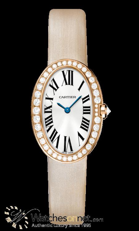 Cartier Baignoire  Quartz Women's Watch, 18K Rose Gold, Silver Dial, WB520004