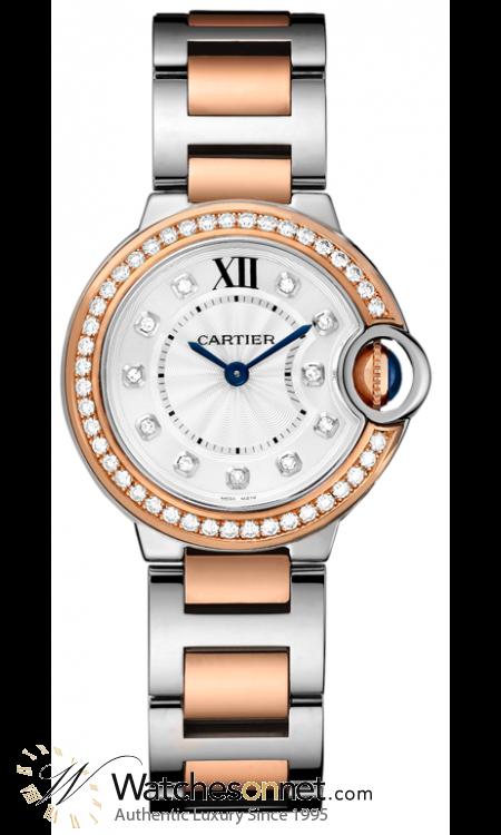 Cartier Ballon Bleu  Quartz Women's Watch, Steel & 18K Rose Gold, Silver Dial, WE902076