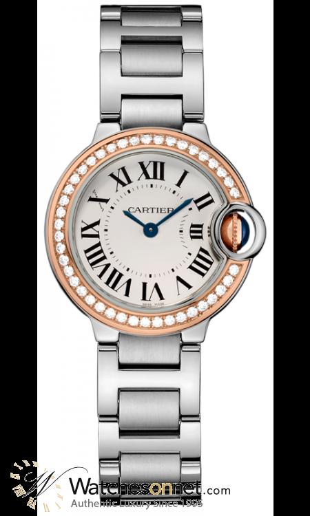Cartier Ballon Bleu  Automatic Women's Watch, Steel & 18K Rose Gold, Silver Dial, WE902079