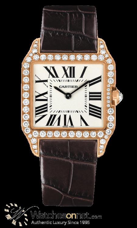 Cartier Santos Dumont  Quartz Men's Watch, 18K Yellow Gold, Silver Dial, WH100351