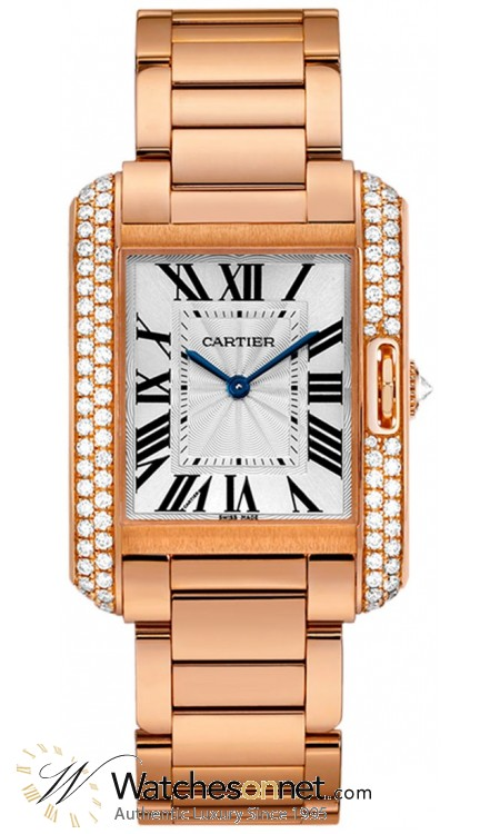 Cartier Tank Anglaise  Automatic Women's Watch, 18K Rose Gold, Silver Dial, WT100027
