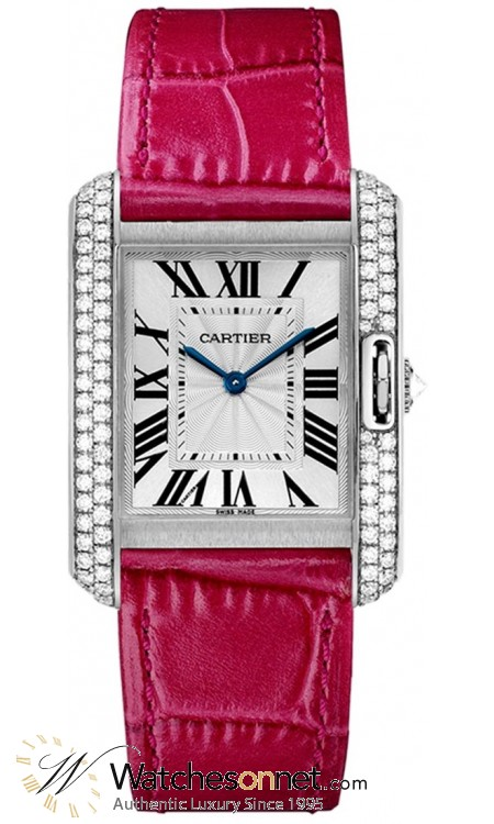 Cartier Tank Anglaise  Automatic Women's Watch, 18K White Gold, Silver Dial, WT100030