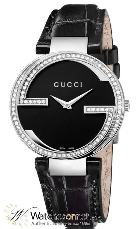 Gucci Interlocking  Quartz Women's Watch, Stainless Steel, Black Dial, YA133306