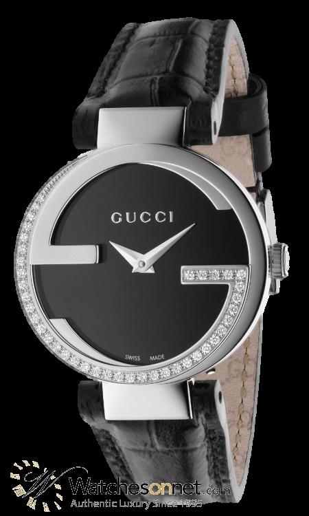 Gucci Interlocking  Quartz Women's Watch, Stainless Steel, Black Dial, YA133507