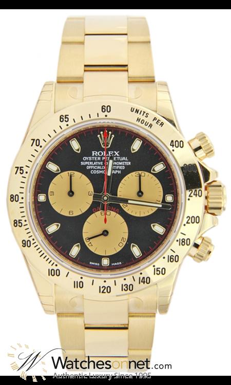 Rolex Cosmograph Daytona  Chronograph Automatic Men's Watch, 18K Yellow Gold, Black Dial, 116528-BLK-CHAMP