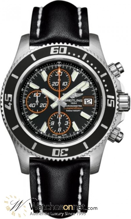 Breitling Superocean Chronograph II  Chronograph Automatic Men's Watch, Stainless Steel, Black Dial, A1334102.BA85.435X