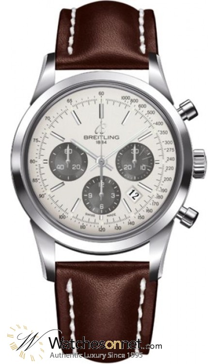 Breitling Transocean Chronograph  Automatic Men's Watch, Stainless Steel, Silver Dial, AB015212.G724.437X