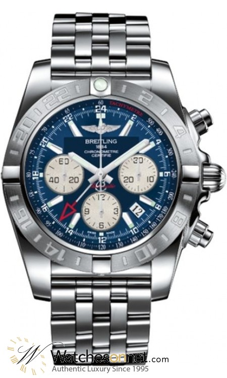 Breitling Chronomat 44 GMT  Chronograph Automatic Men's Watch, Stainless Steel, Blue Dial, AB042011.C851.375A