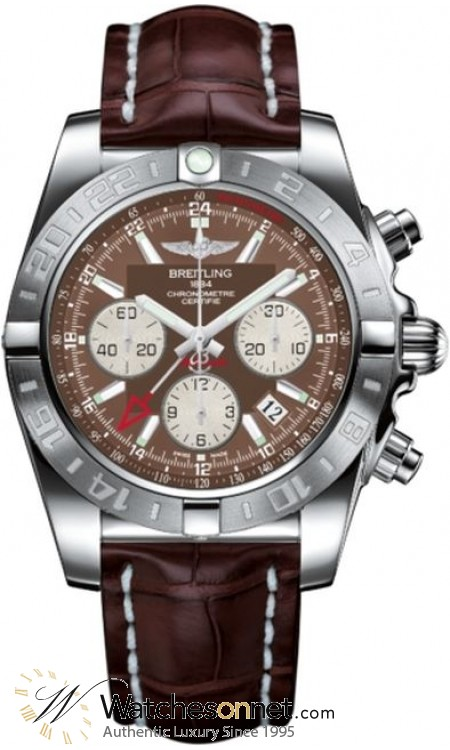 Breitling Chronomat 44 GMT  Chronograph Automatic Men's Watch, Stainless Steel, Brown Dial, AB042011.Q589.740P