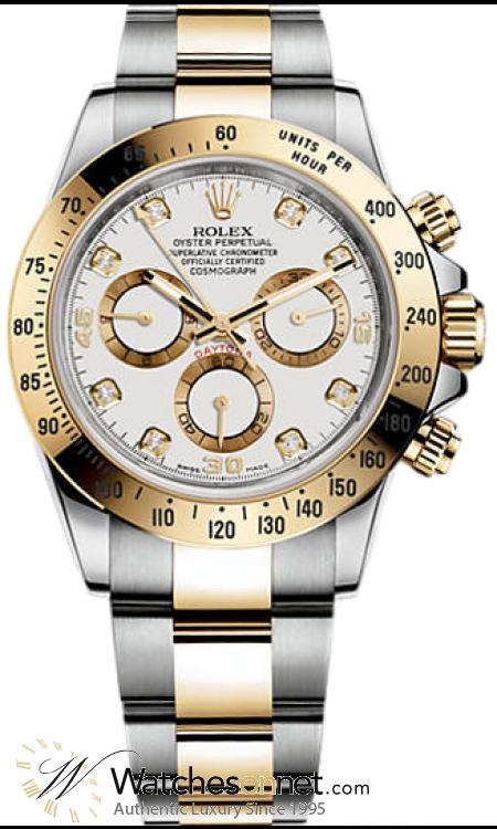 Rolex Cosmograph Daytona  Chronograph Automatic Men's Watch, 18K Yellow Gold, White & Diamonds Dial, 116523-WHT-DIA