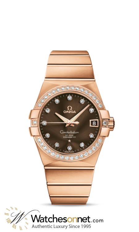 Omega Constellation  Automatic Men's Watch, 18K Rose Gold, Brown & Diamonds Dial, 123.55.38.21.63.001