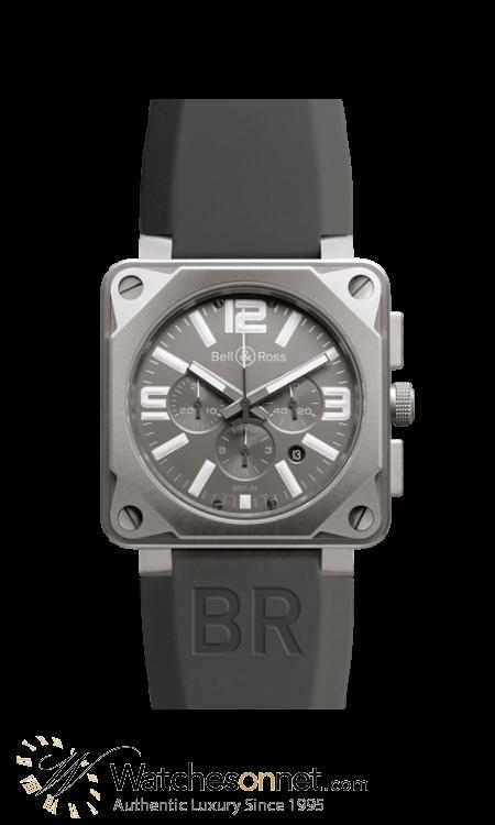 Bell & Ross Aviation BR01  Chronograph Automatic Men's Watch, Titanium, Black Carbon Fiber Dial, BR01‐94‐Pro Titanium