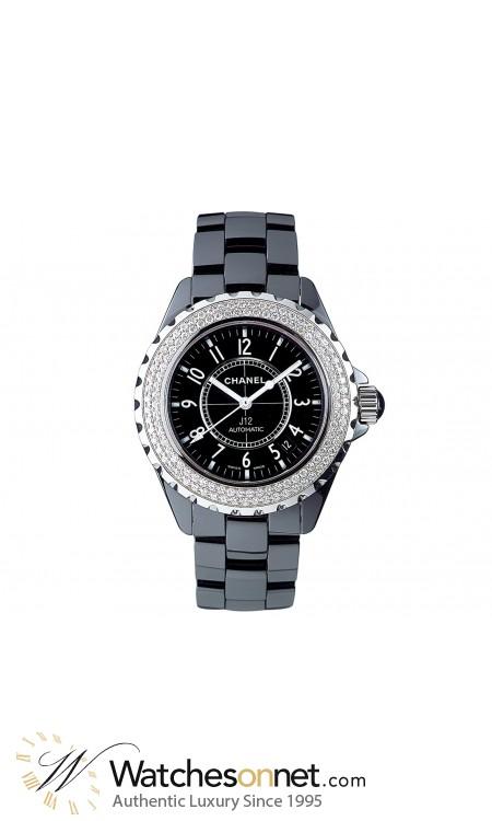 Chanel J12 Jewelry  Automatic Women's Watch, Ceramic, Black & Diamonds Dial, H0950