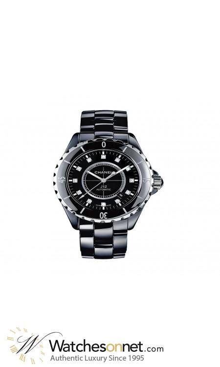 Chanel J12 Jewelry  Automatic Women's Watch, Ceramic, Black & Diamonds Dial, H1626