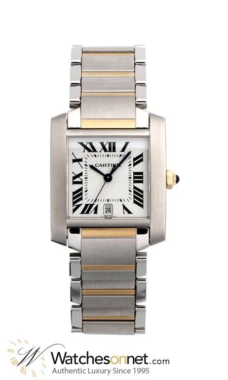 Cartier Tank Francaise  Quartz Men's Watch, 18K Yellow Gold, Silver Dial, W51005Q4