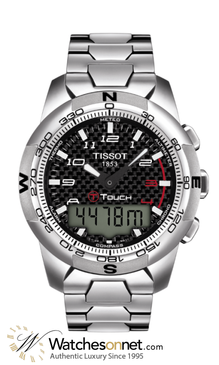 Tissot T Touch  Chronograph LCD Display Quartz Men's Watch, Stainless Steel, Black Dial, T047.420.44.207.00