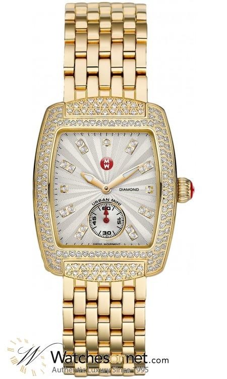 Michele Urban  Quartz Women's Watch, Gold Plated, White & Diamonds Dial, MWW02A000565