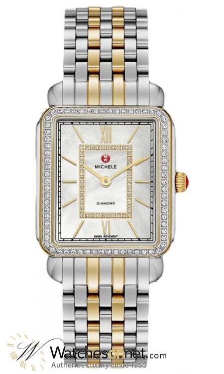 Michele Deco II  Quartz Women's Watch, Steel & 18K Gold Plated, Mother Of Pearl & Diamonds Dial, MWW06X000006