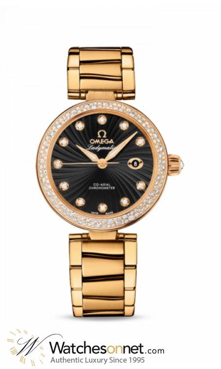 Omega De Ville Ladymatic  Automatic Women's Watch, 18K Yellow Gold, Black & Diamonds Dial, 425.65.34.20.51.002