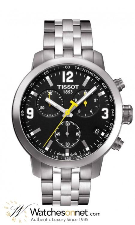 Tissot PRC200  Chronograph Quartz Men's Watch, Stainless Steel, Black Dial, T055.417.11.057.00