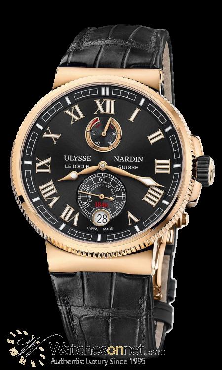 Ulysse Nardin Marine Chronometer  Automatic Men's Watch, 18K Rose Gold, Black Dial, 1186-126/42