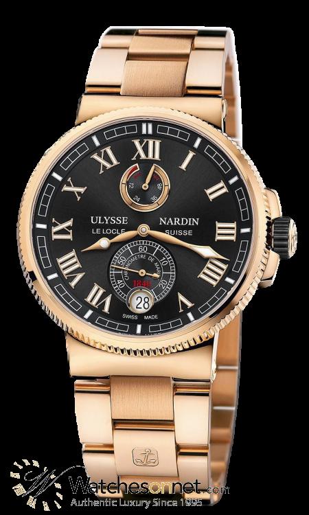 Ulysse Nardin Marine Chronometer  Automatic Men's Watch, 18K Rose Gold, Black Dial, 1186-126-8M/42
