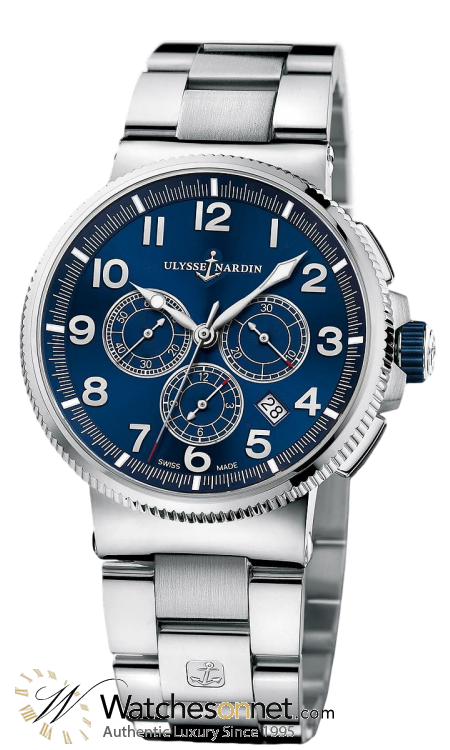 Ulysse Nardin Marine Chronometer  Automatic Men's Watch, Titanium & Stainless Steel, Blue Dial, 1503-150-7M/63