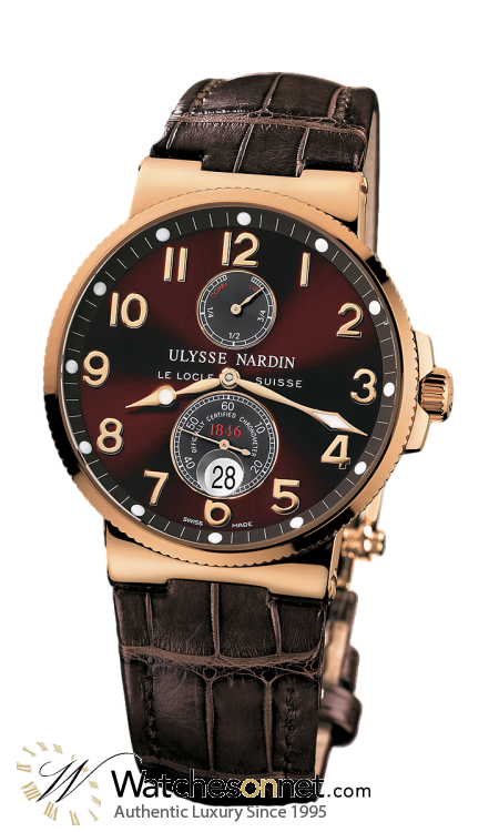 Ulysse Nardin Marine Chronometer  Automatic Men's Watch, 18K Rose Gold, Brown Dial, 266-66/625