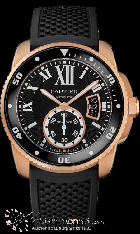 Cartier Calibre Diver  Automatic Men's Watch, 18K Rose Gold, Black Dial, W7100052