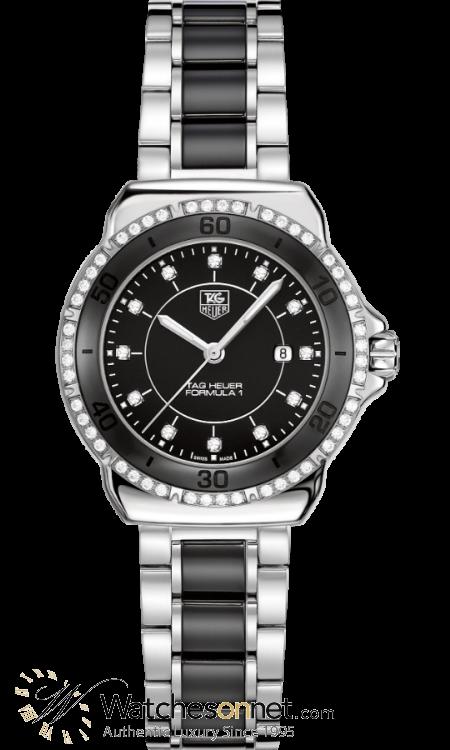 Tag Heuer Formula 1  Quartz Women's Watch, Stainless Steel, Black & Diamonds Dial, WAH1312.BA0867