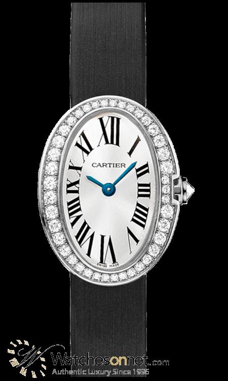 Cartier Baignoire  Quartz Women's Watch, 18K White Gold, Silver Dial, WB520027