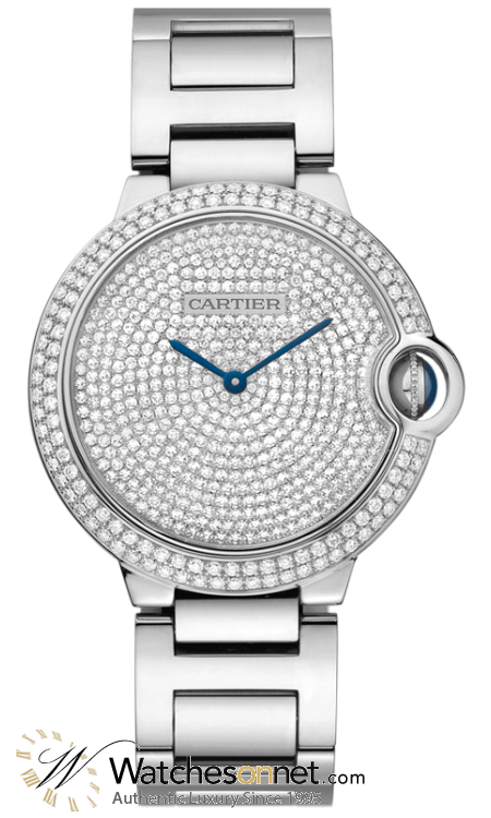 Cartier Ballon Bleu  Automatic Men's Watch, 18K White Gold, Diamond Pave Dial, WE902045