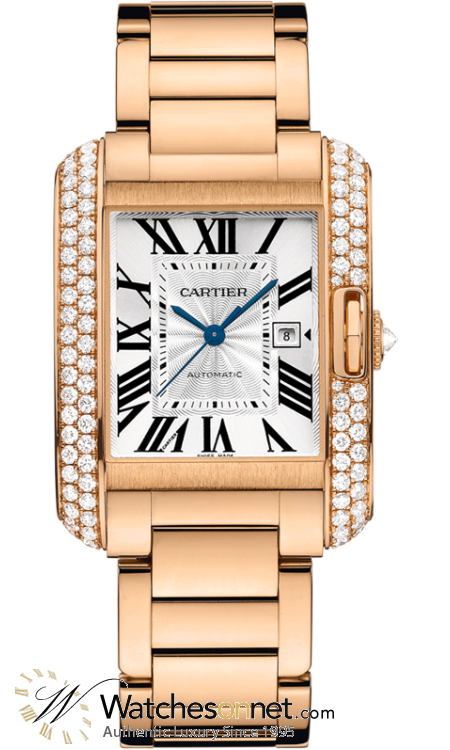 Cartier Tank Anglaise  Automatic Mid-Size Watch, 18K Rose Gold, Silver Dial, WT100003