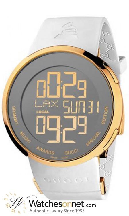 Gucci i-Gucci  Chronograph LCD Display Quartz Men's Watch, Gold Plated, Silver Dial, YA114216
