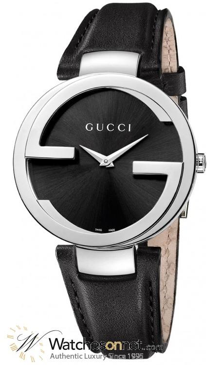 Gucci Interlocking  Quartz Women's Watch, Stainless Steel, Black Dial, YA133301