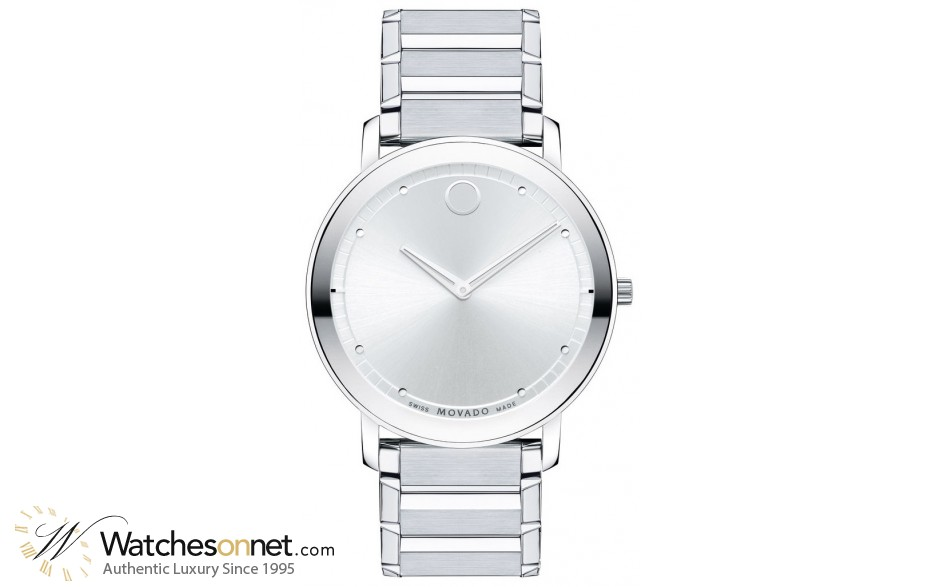 Movado Sapphire  Quartz Men's Watch, Stainless Steel, Silver Dial, 606881