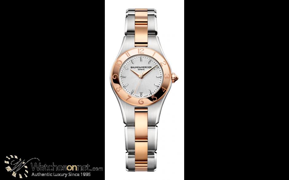 Baume & Mercier Linea  Quartz Women's Watch, Steel & 18K Rose Gold, Silver Dial, MOA10080