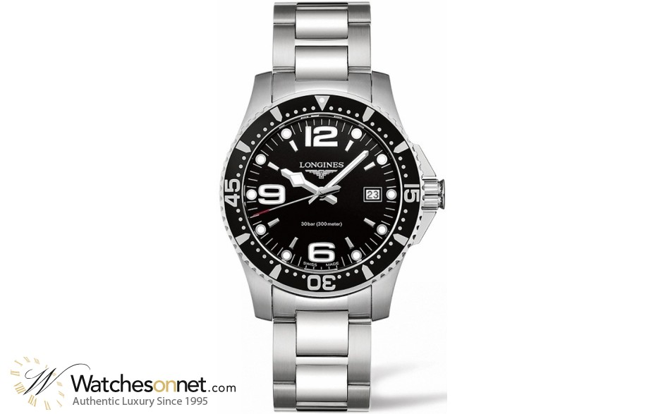 Longines HydroConquest  Quartz Men's Watch, Stainless Steel, Black Dial, L3.740.4.56.6